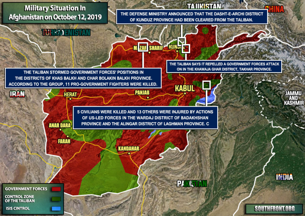 Military Situation In Afghanistan On October 12, 2019 (Map Update)