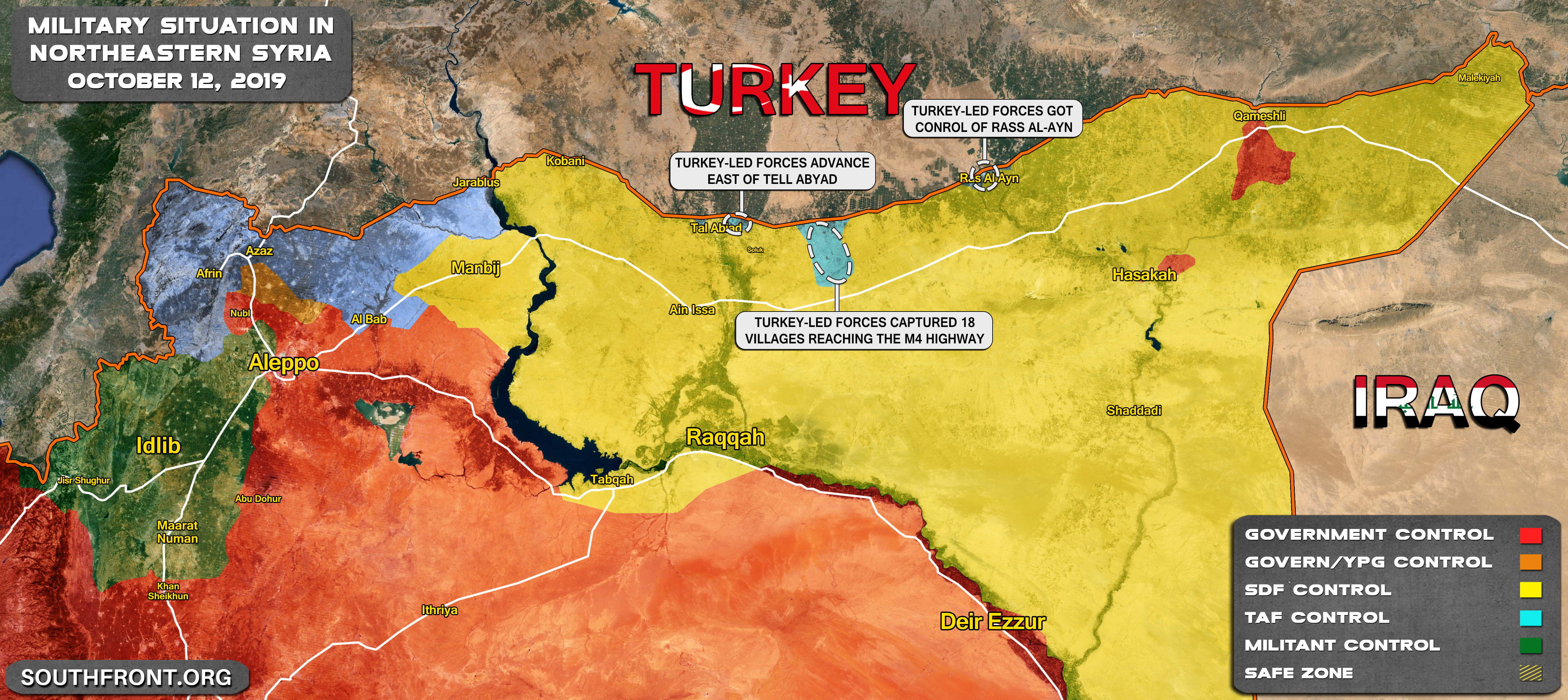 Map Update: Turkey\'s Operation Peace Spring In Northeastern ...