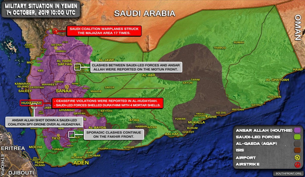 Military Situation In Yemen On October 14, 2019 (Map Update)