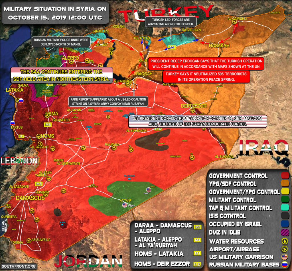 Military Situation In Syria On October 15, 2019 (Map Update)