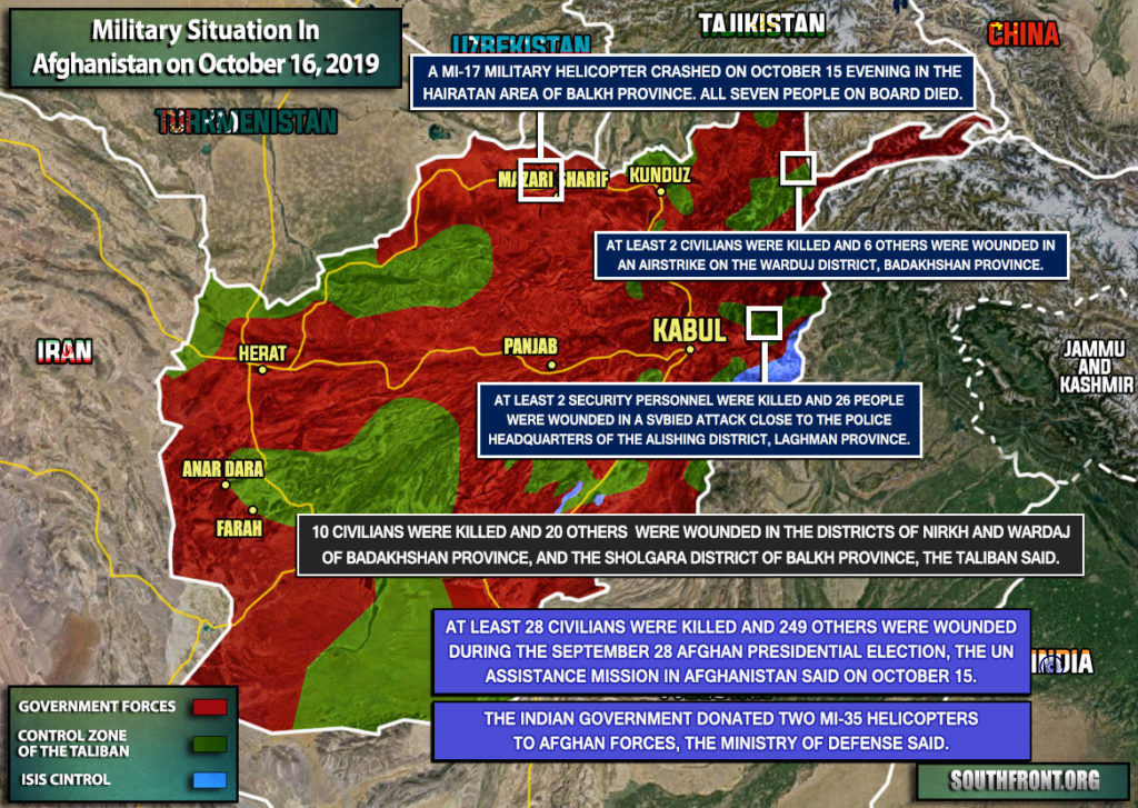Military Situation In Afghanistan On October 16, 2019 (Map Update)