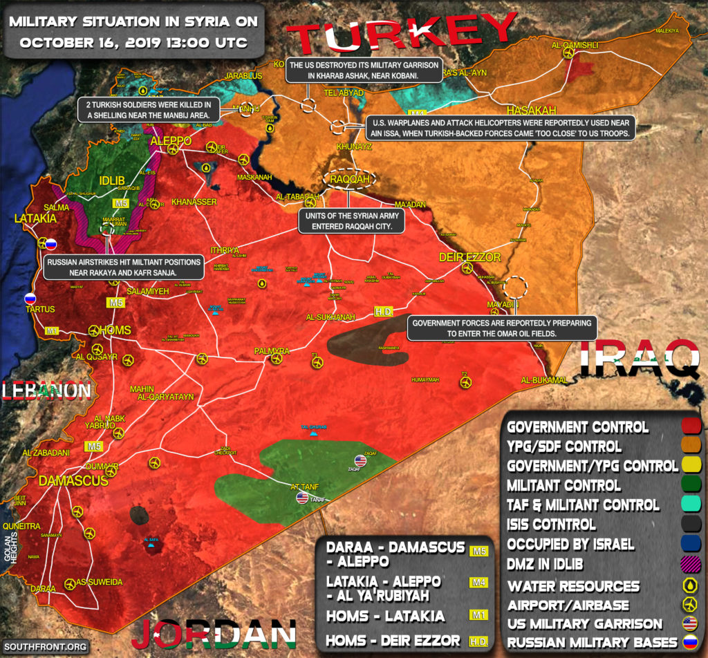 Military Situation In Syria On October 16, 2019 (Map Update)