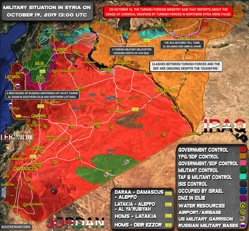 Military Situation In Syria On October 19, 2019 (Map Update)