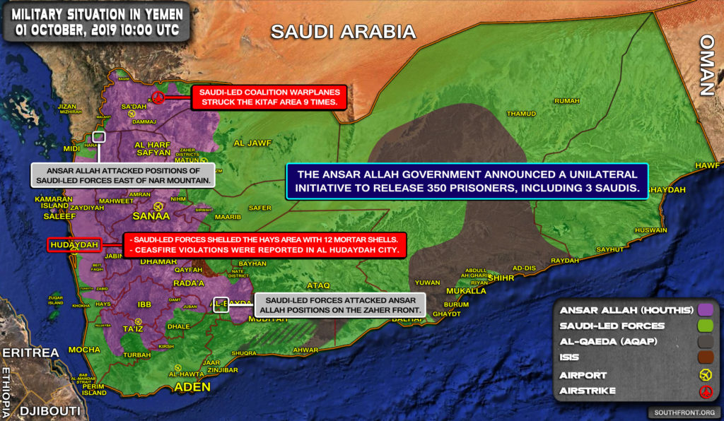 Military Situation In Yemen On October 1, 2019 (Map Update)