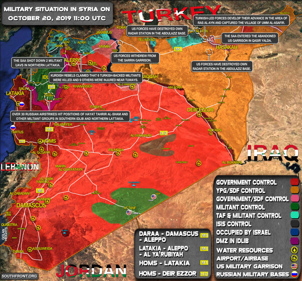 Military Situation In Syria On October 20, 2019 (Map Update)