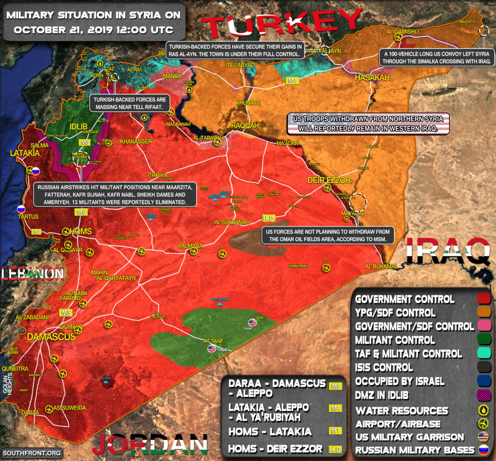 Military Situation In Syria On October 21, 2019 (Map Update)
