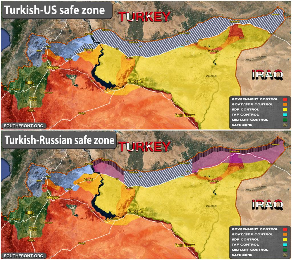 Map Comparison: Turkish-US Safe Zone Vs Turkish-Russian Safe Zone In Northeastern Syria