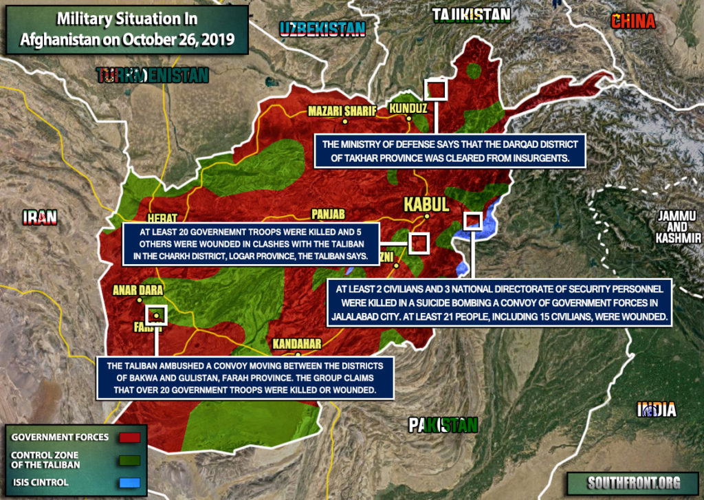 Military Situation In Afghanistan On October 26, 2019 (Map Update)