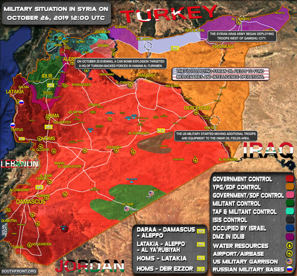 Military Situation In Syria On October 26, 2019 (Map Update)