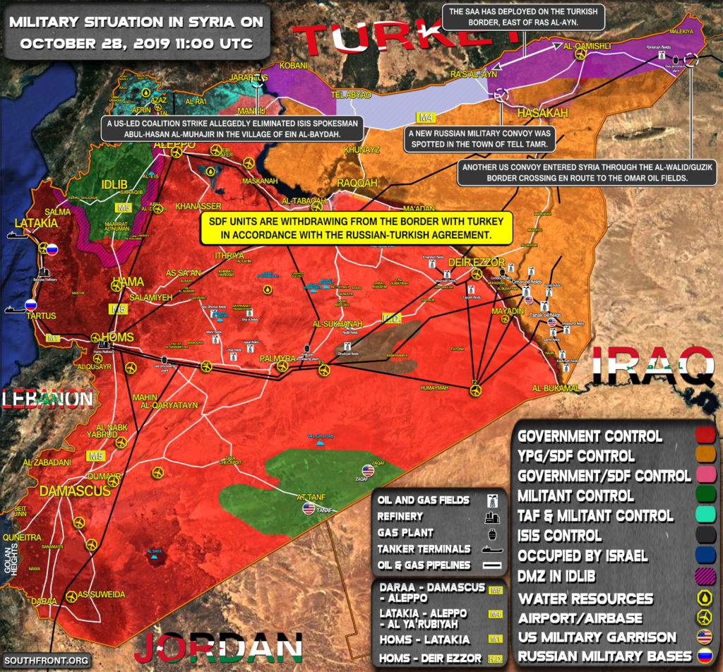 Military Situation In Syria On October 28, 2019 (Map Update)