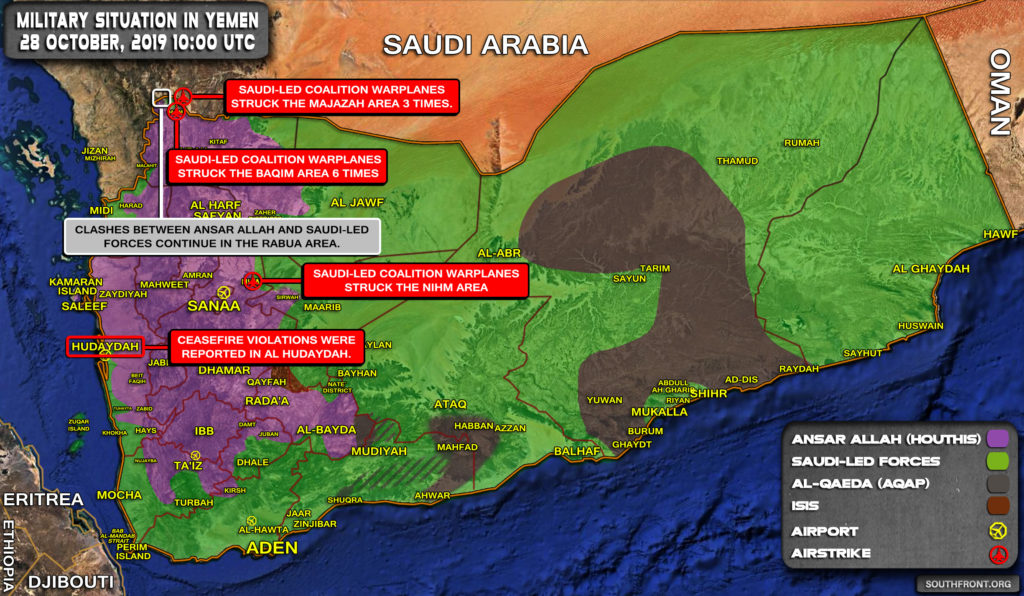Military Situation In Yemen On October 28, 2019 (Map Update)