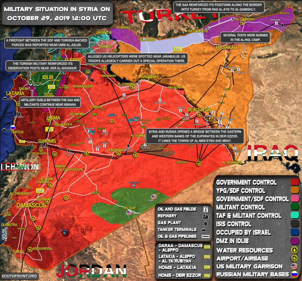 Military Situation In Syria On October 29, 2019 (Map Update)