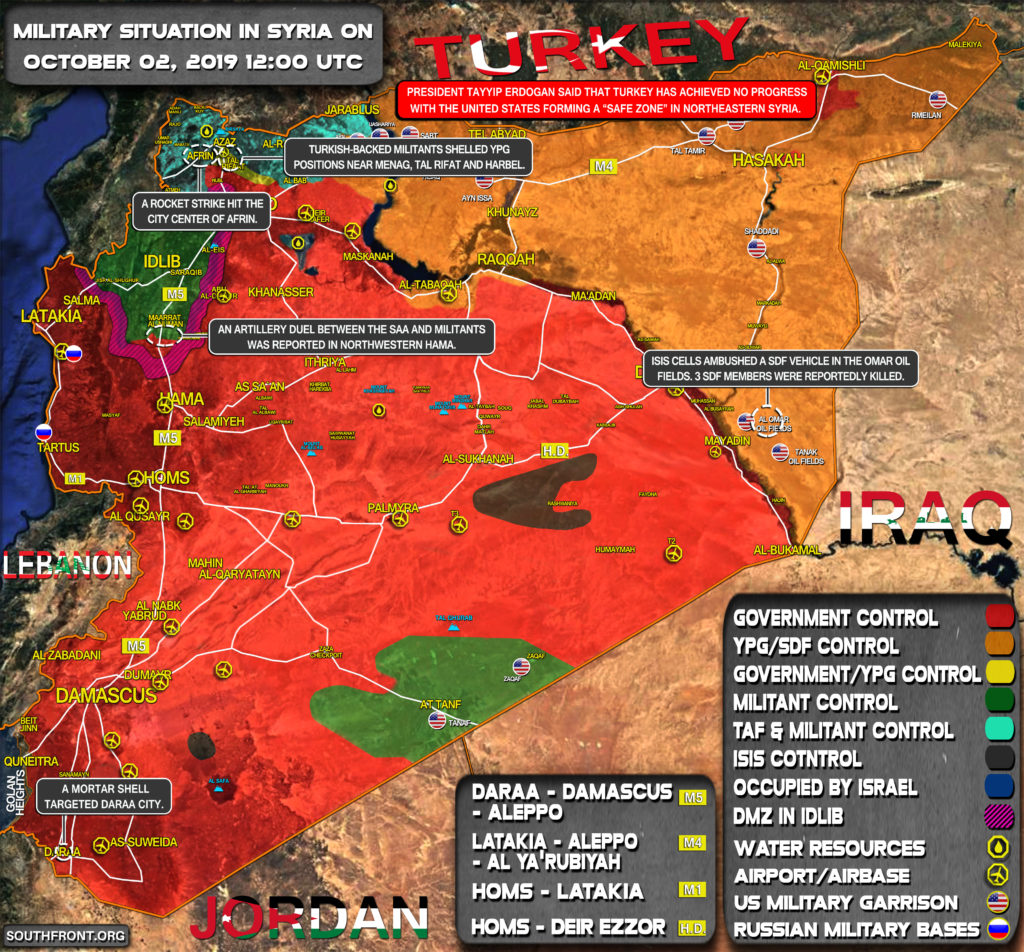 Military Situation In Syria On October 2, 2019 (Map Update)