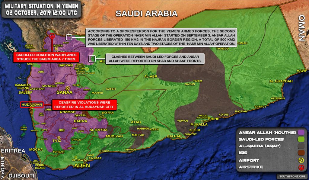 Military Situation In Yemen On October 2, 2019 (Map Update)