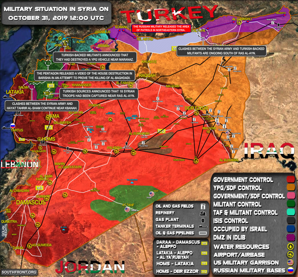 Military Situation In Syria On October 31, 2019 (Map Update)