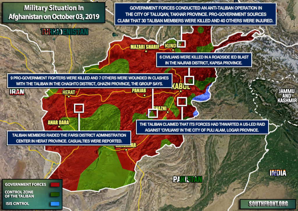 Military Situation In Afghanistan On October 3, 2019 (Map Update)