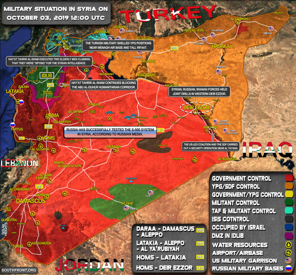 Military Situation In Syria On October 3, 2019 (Map Update)