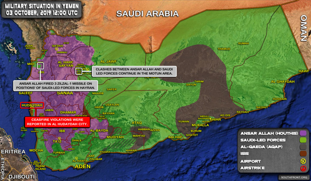 Military Situation In Yemen On October 3, 2019 (Map Update)