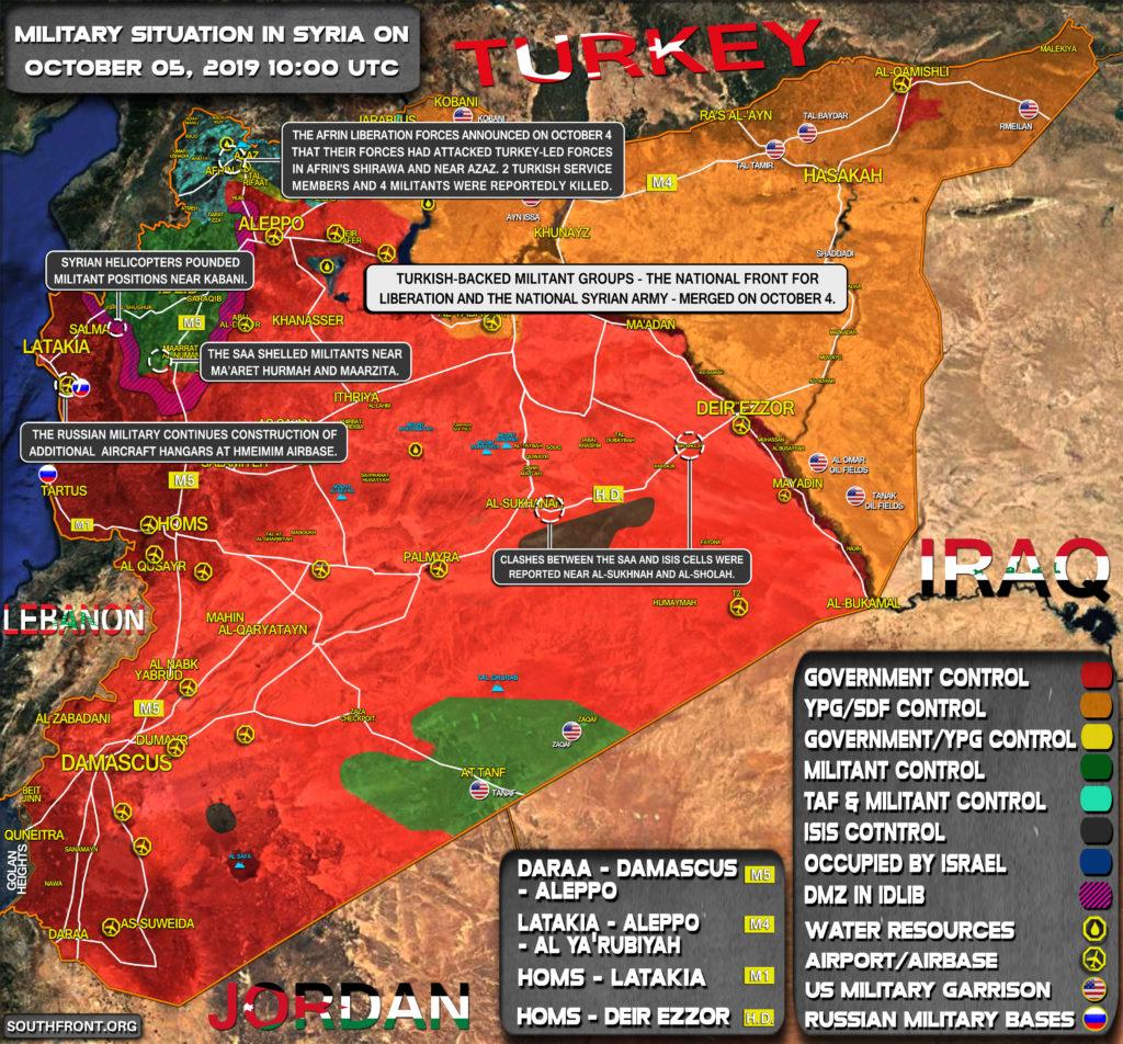 Vojenská Situácia V Sýrii Októbra 5, 2019 (Aktualizácia Máp)