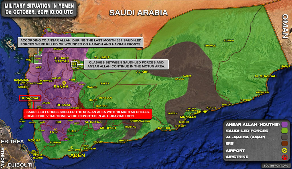 Military Situation In Yemen On October 6, 2019 (Map Update)