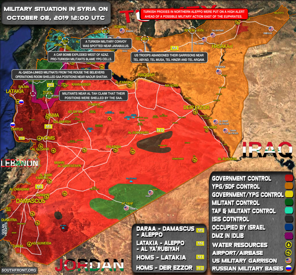 Military Situation In Syria On October 8, 2019 (Map Update)