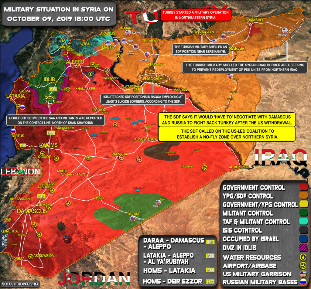 Military Situation In Syria On October 9, 2019 (Map Update)