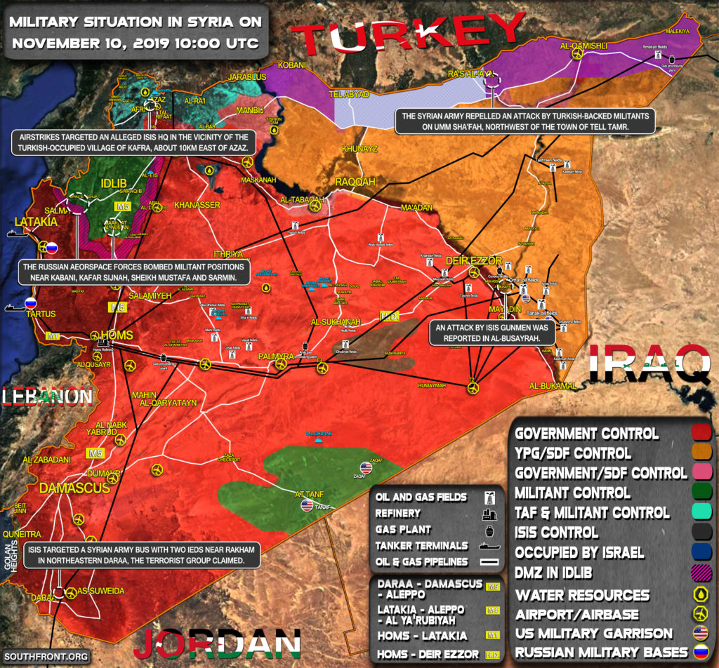 Military Situation In Syria On November 10, 2019 (Map Update)