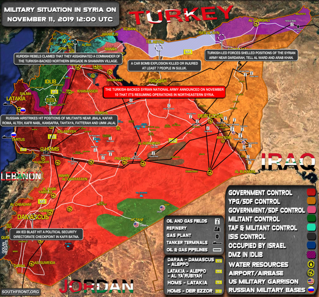 Military Situation In Syria On November 11, 2019 (Map Update)