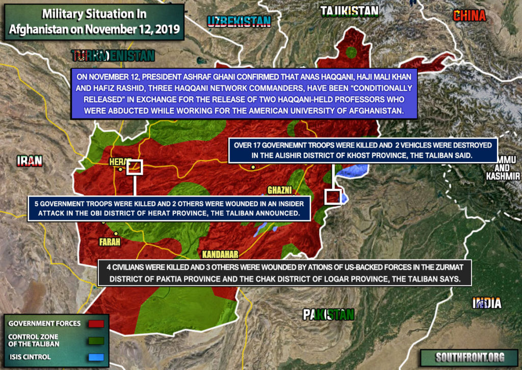 Military Situation In Afghanistan On November 12, 2019 (Map Update)