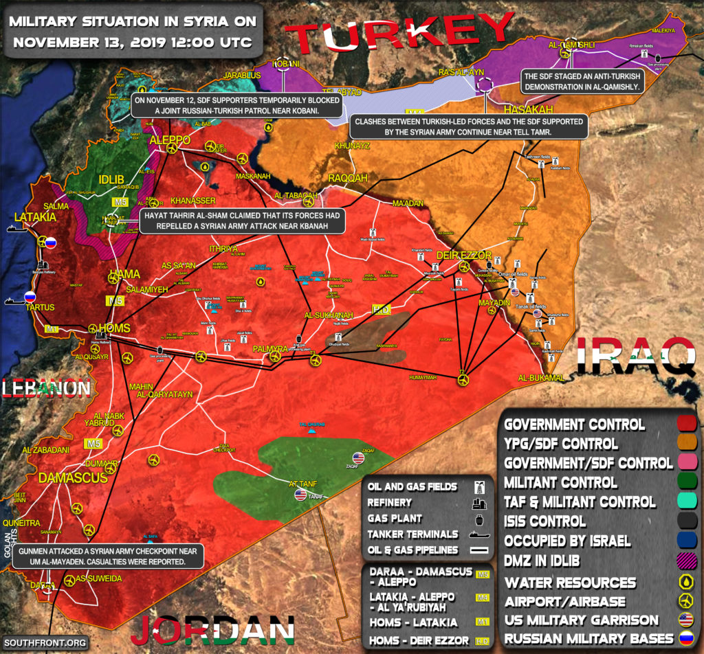 Military Situation In Syria On November 13, 2019 (Map Update)