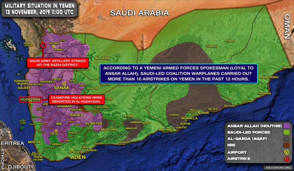 Military Situation In Yemen On November 13, 2019 (Map Update)