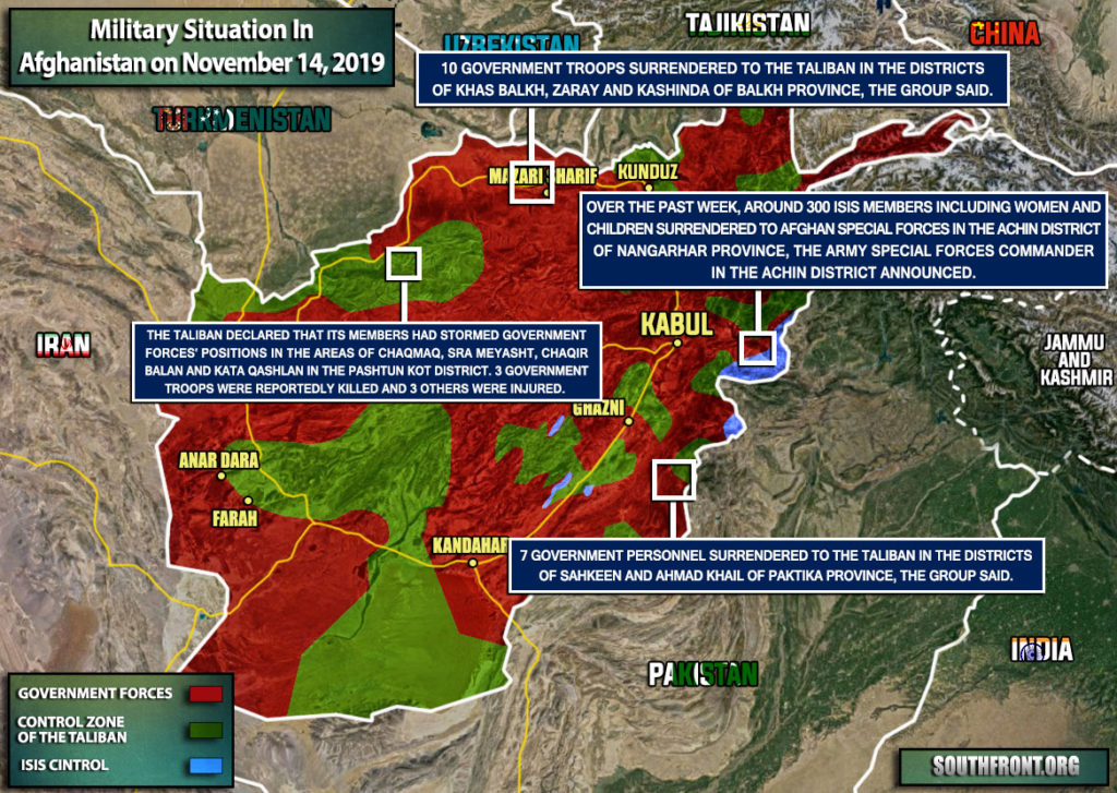 Military Situation In Afghanistan On November 14, 2019 (Map Update)