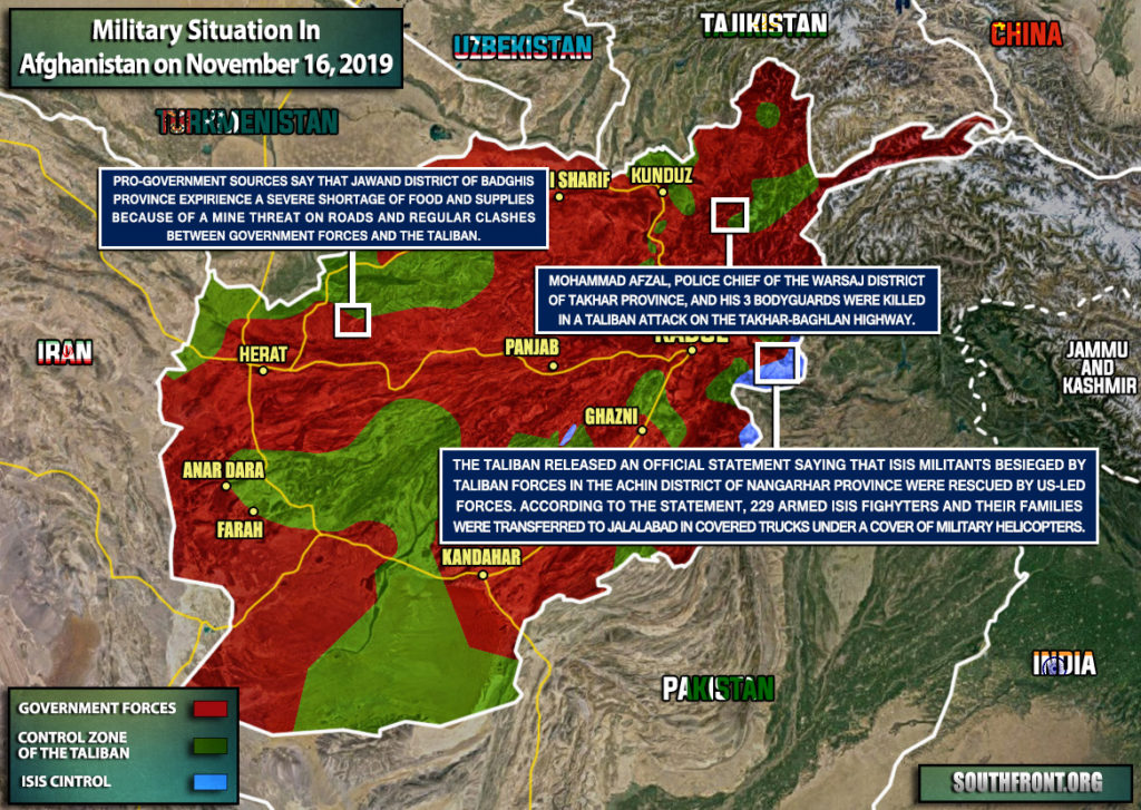Military Situation In Afghanistan On November 16, 2019 (Map Update)
