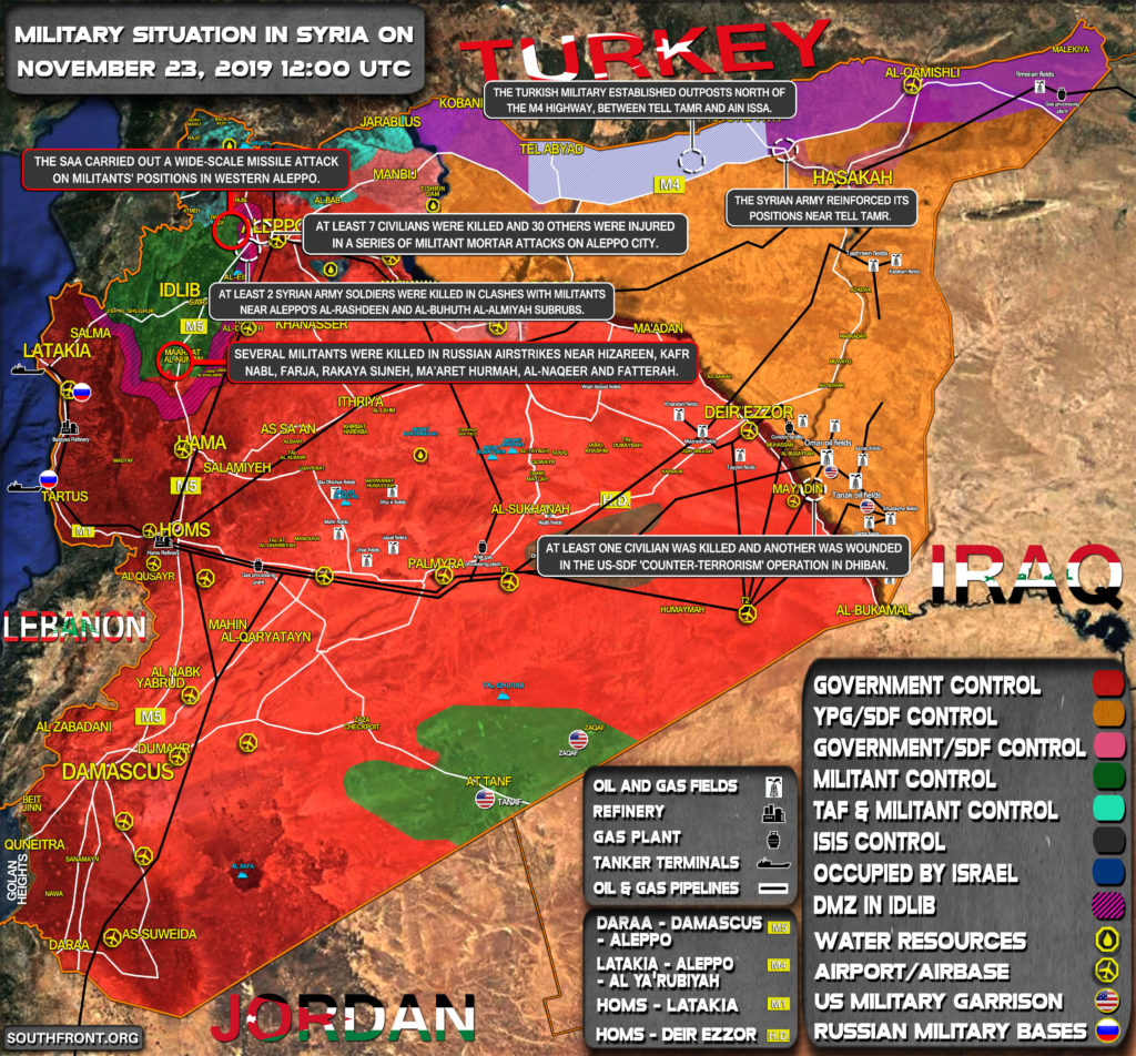 Military Situation In Syria On November 23, 2019 (Map Update)
