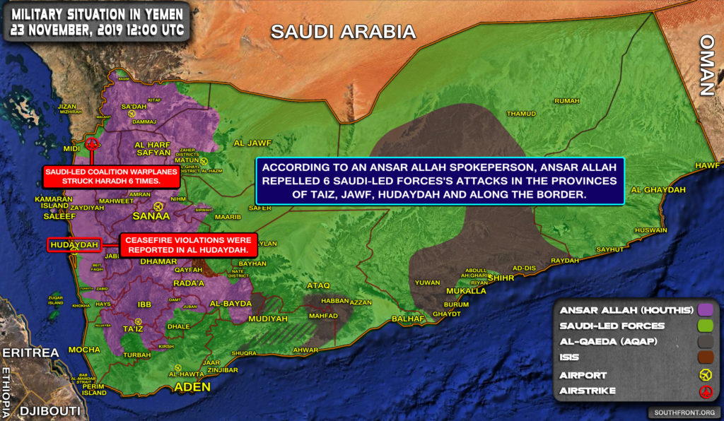 Military Situation In Yemen On November 23, 2019 (Map Update)