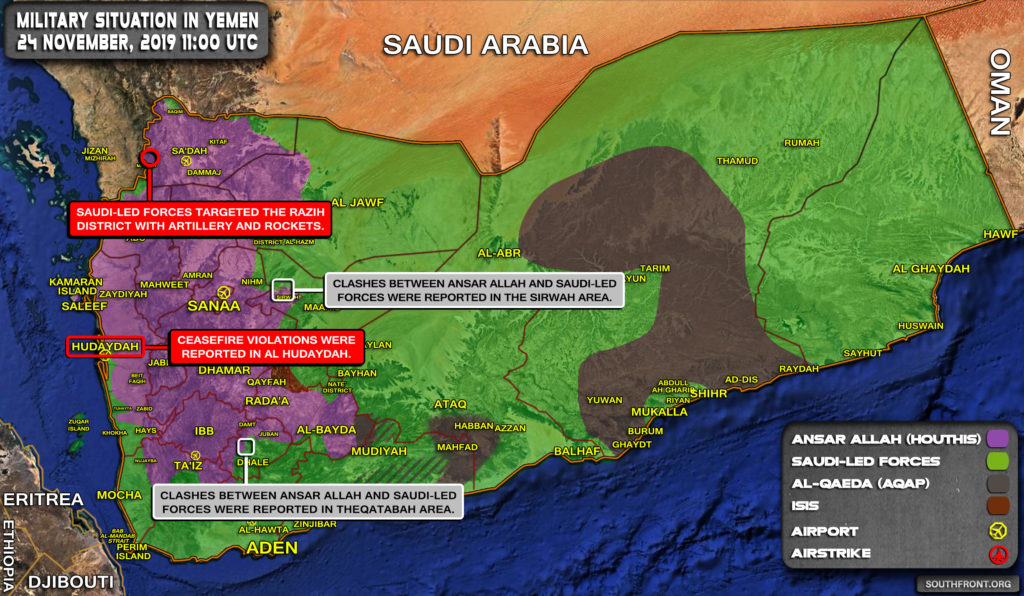 Military Situation In Yemen On November 24, 2019 (Map Update)