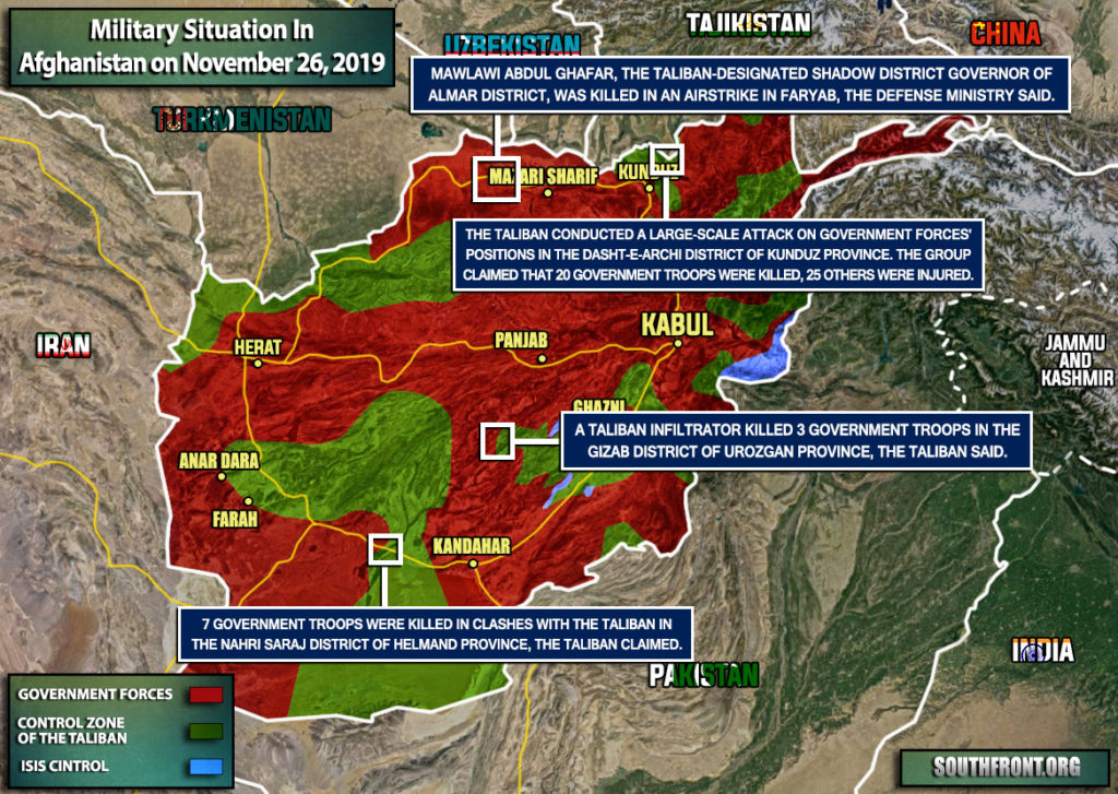 Military Situation In Afghanistan On November 26, 2019 (Map Update)