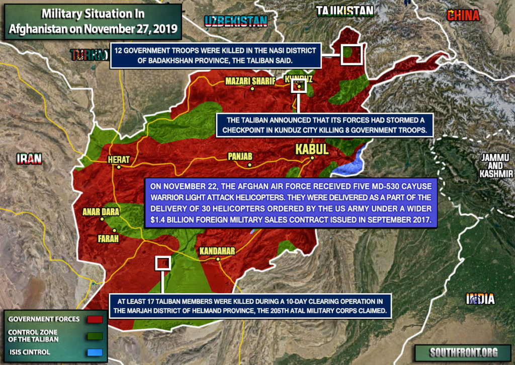 Military Situation In Afghanistan On November 27, 2019 (Map Update)