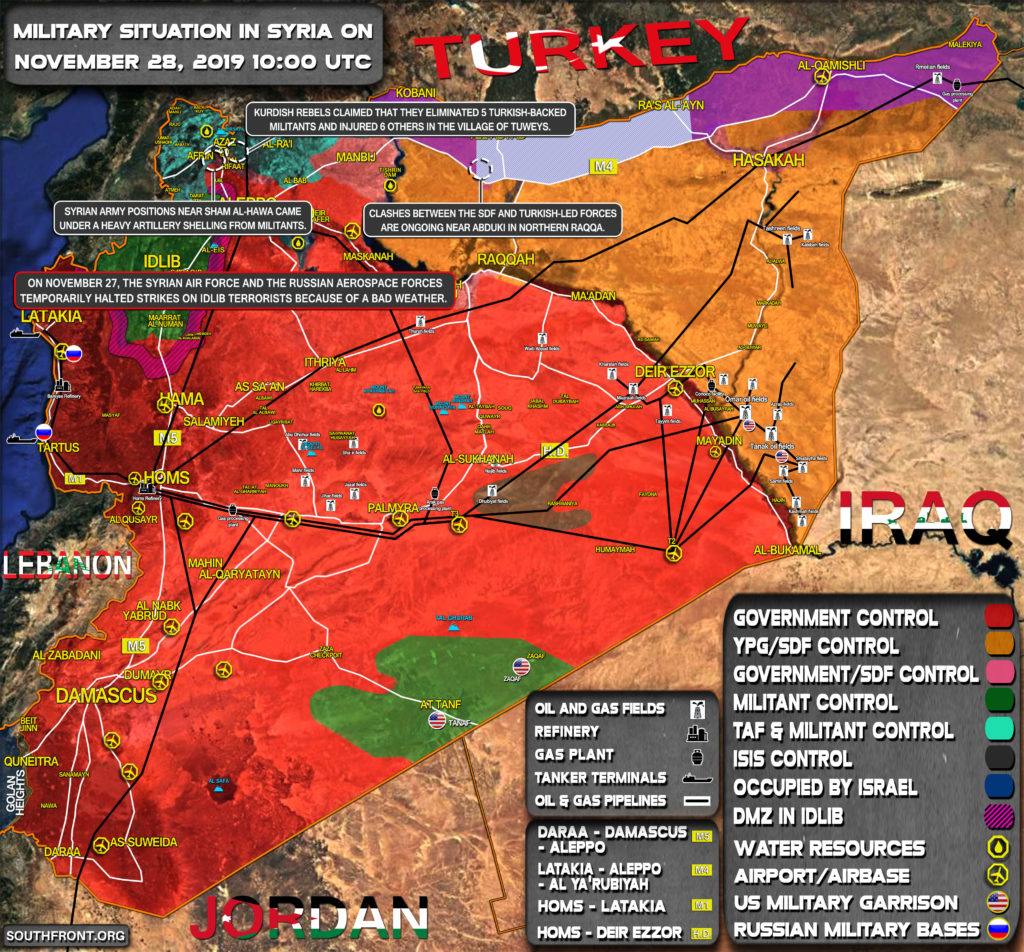 Military Situation In Syria On November 28, 2019 (Map Update)
