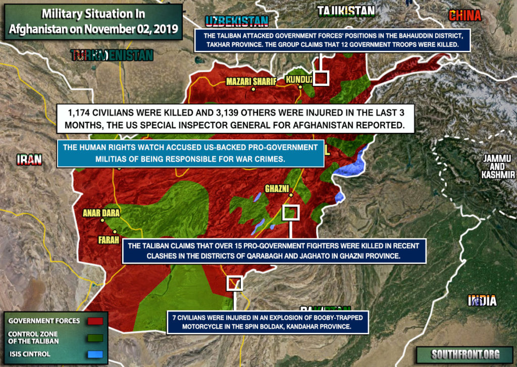 Military Situation In Afghanistan On November 2, 2019 (Map Update)