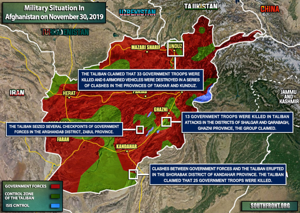 Military Situation In Afghanistan On November 30, 2019 (Map Update)