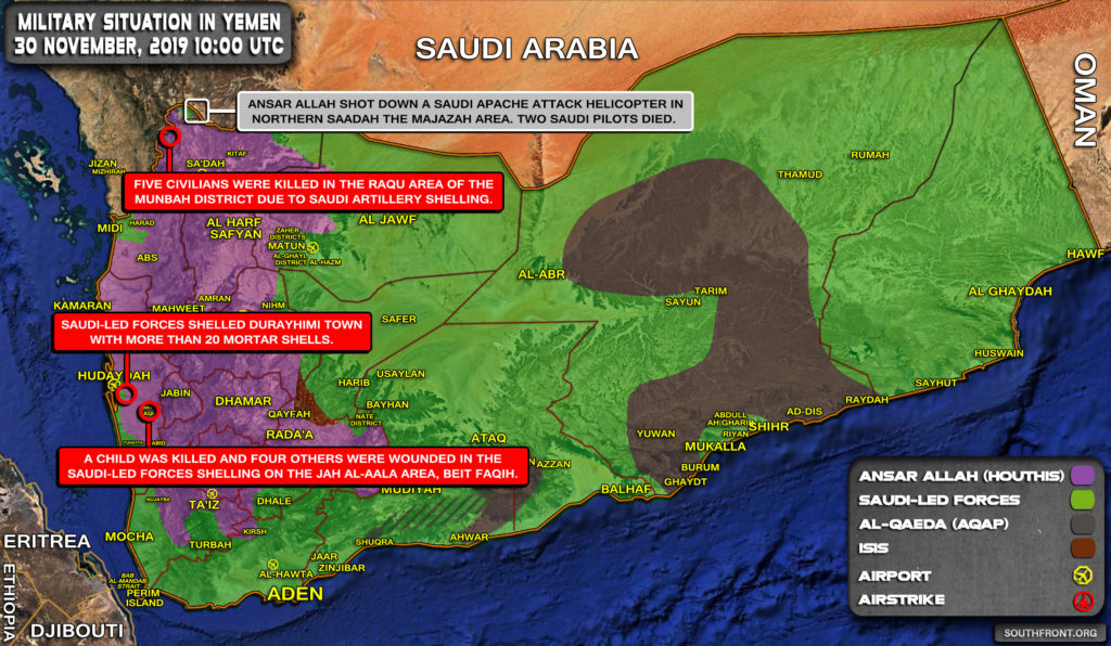 Military Situation In Yemen On November 30, 2019 (Map Update)