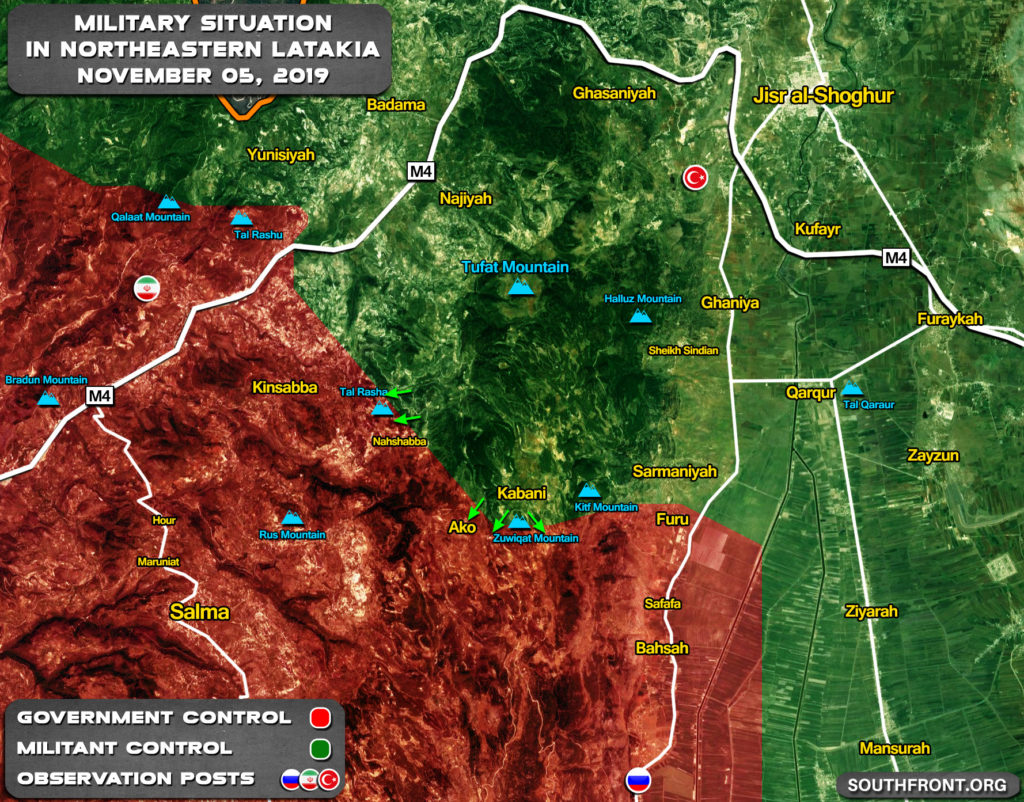 Military Situation In Northern Lattakia On November 5, 2019 (Map Update)