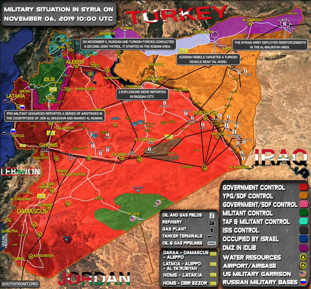 Military Situation In Syria On November 6, 2019 (Map Update)
