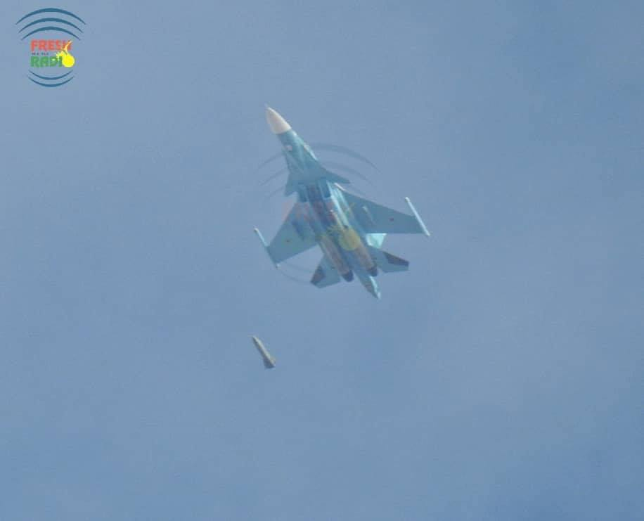 Russian Warplane Spotted Dropping Satellite-Guided Bomb On Terrorist Position In Idlib (Photos)