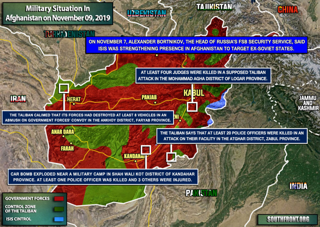 Military Situation In Afghanistan On November 9, 2019 (Map Update)