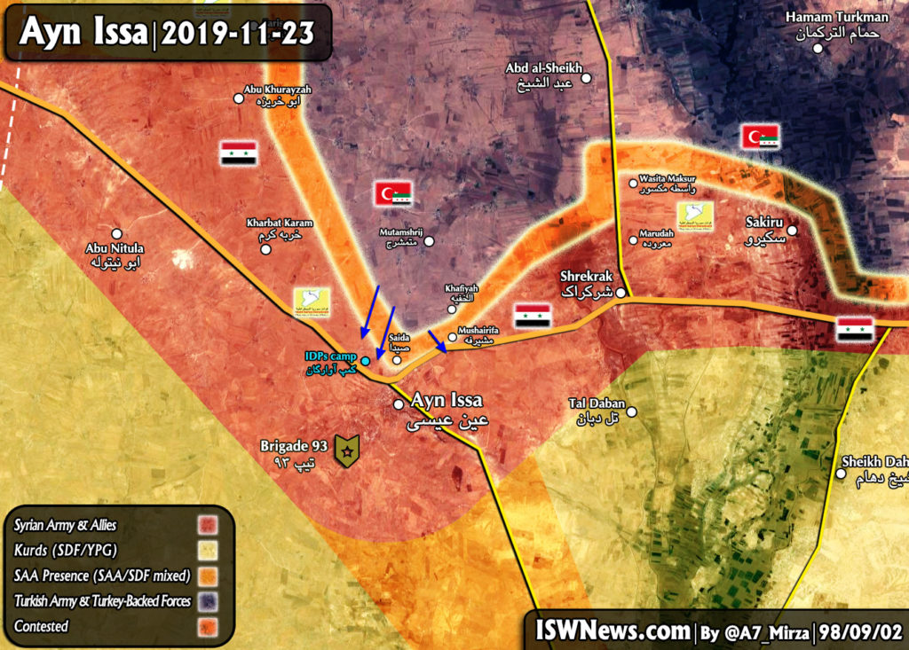 Map Update: Military Situation In Area Of Syria's Ayn Issa Following Turkish-led Attack