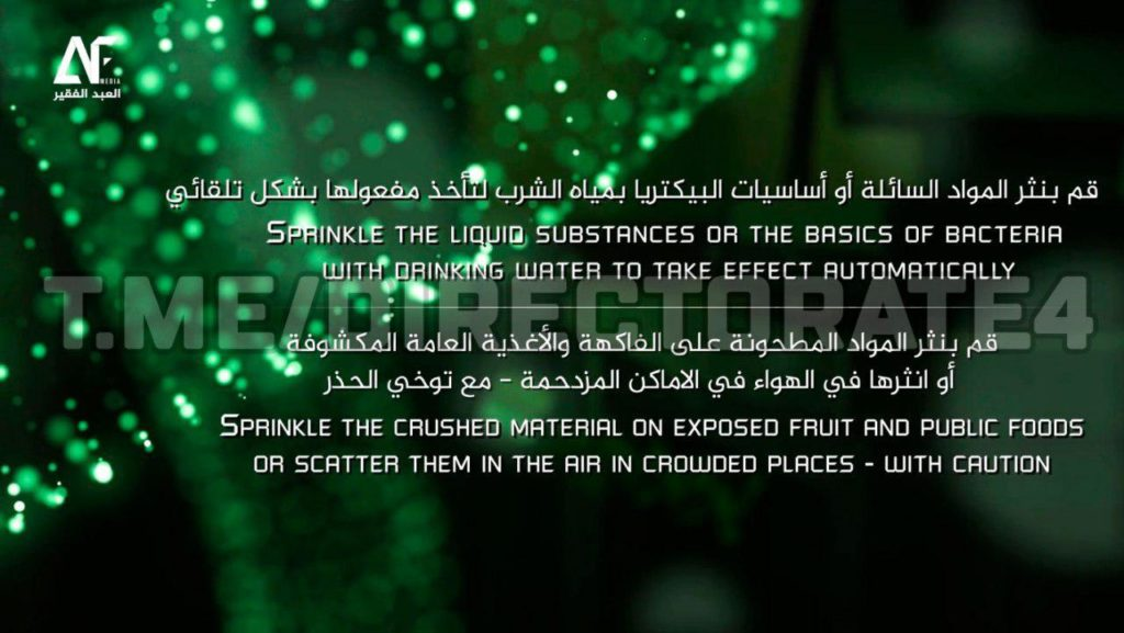 Pro-ISIS Propaganda Suggests To Use Improvised Biological Weapons For Terrorist Attacks