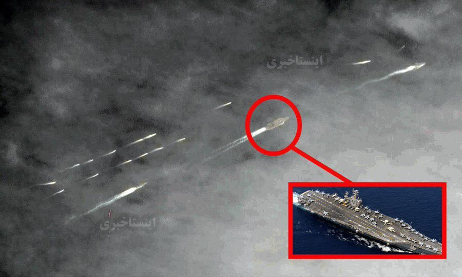 Iranian Fast Boats Harras US Aicraft Carrier During Transit Through Strait Of Hormuz (Satellite Image)