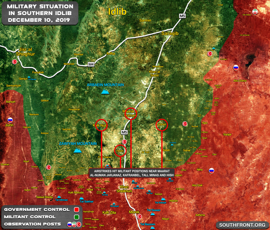Military Situation In Southern Idlib On December 10, 2019 (Map Update)